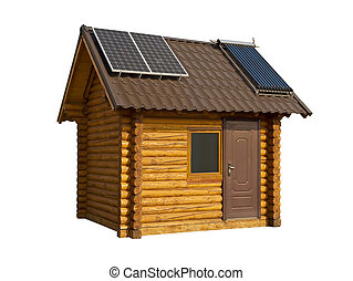 Eco-friendly wooden house on a white background