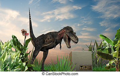 Tarbosarus - CuriousTarbosaurus inspects a cardboard box on...