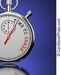 "Time To Share Concept. Stopwatch with ""Time To Share"" slogan..."