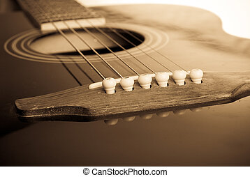 Guitar Macro - Close up observation of antique classic...