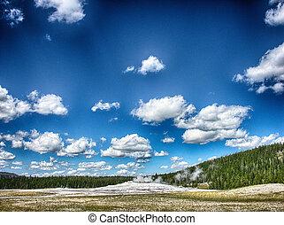 Gorgeous eruption of Old Faithful, Yellowstone National Park