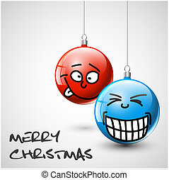 Funny Vector Christmas baubles with faces - Funny blue and...