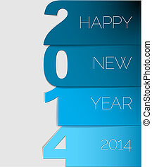 Happy New Year 2014 vector card - Happy New Year 2014 blue...