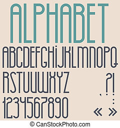 Retro font, numbers and punctuation marks Vector set