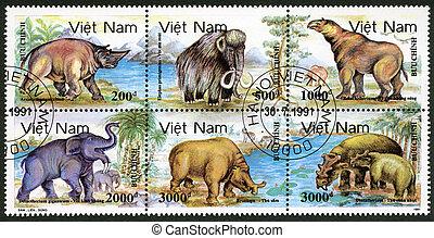 VIETNAM - 1991: shows Prehistoric animals - VIETNAM - CIRCA...