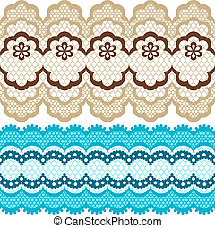 Old lace ribbons, abstract ornament. Vector texture.