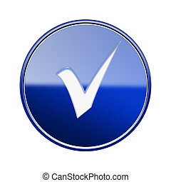 check icon glossy blue, isolated on white background.