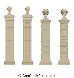 set of column 3 - Set of gate pillars, vector eps10 isolated