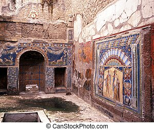 Roman villa ruin, Herculaneum - Inside the remians of one of...