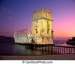 Tower of Belem, Lisbon, Portugal - Tower of Belem at sunset,...
