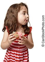 Little girl tasty sweet doughnut