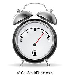 Fuel indicator in clock design.