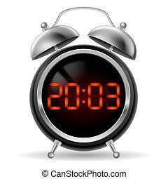 Retro alarm clock with digital face.
