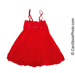 red peignoir - Red Womens peignoir isolated on a white...
