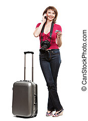 young woman tourist holding credit card