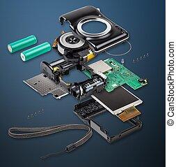 Explode view of digital camera