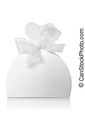 White gift box with ribbon - Gift box with ribbon on white...