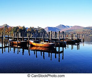 Derwent Water, Keswick, Cumbria. - Rowing boats and moorings...