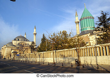 Mosques - Suleymiye and Mevlana mosque in Konya, Turkey...