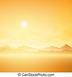 Simple Landscape - A Simple Sunrise, Sunset Misty Landscape