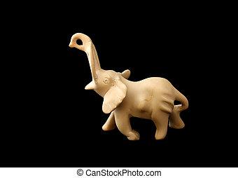 Figure of an elephant made of stone;