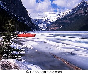 Frozen lake Louise, Canada.