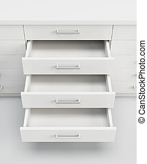 cupboard with opened drawers - white cupboard with opened...