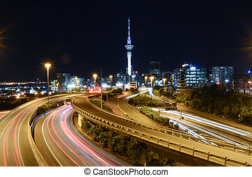 Auckland city night with the Sky Tower on background