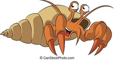 Hermit crab - Vector image of funny cartoon smiling hermit...