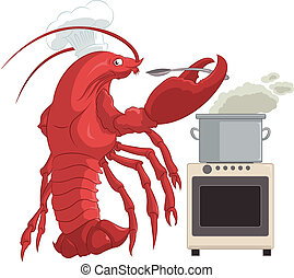 Lobster cooker - Vector image of lobster in the kitchen