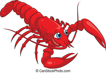 Lobster - Vector image of funny cartoon smiling lobster