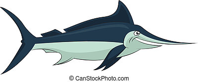 Marlin - Vector image of funny cartoon smiling marlin