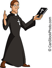 Priest - Vector image of funny cartoon smart priest