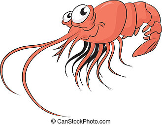 Shrimp - Vector image of funny cartoon smiling shrimp