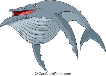 Cartoon whale - Vector image of funny cartoon smiling whale