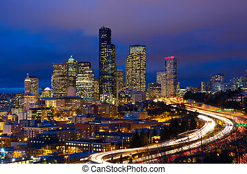 Seattle downtown - Seattle skyline with traffic at dusk, WA,...