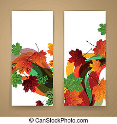 Vector Autumn Banners - Vector Illustration of Two Abstract...