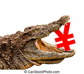 Yen symbol eaten by crocodile for sale, crash or discount -...