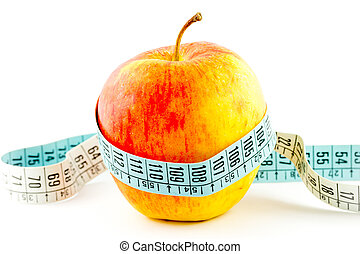 Diet apple food with tape measure