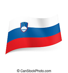State flag of Slovenia. - National flag of Slovenia: white,...