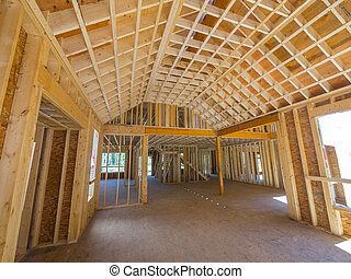 New residential home construction - Interior framing of a...