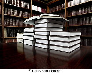 Books on Table in Library - Stack of old books on a desk or...