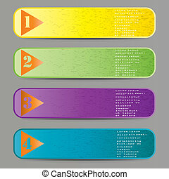 Vector set of colored ribbons for different sample options