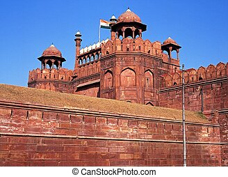 Red Fort, Delhi, India - The Red Fort made from sandstone,...