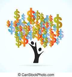 Money Tree - Money tree vector concept illustration
