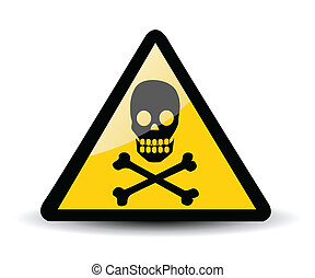 Warning sign with skull