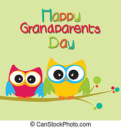 grandparents day - happy grandparents day text with two owls...