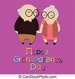 Grandparents - happy grandparents day with abstract...