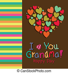 I love you grandma text with a big abstract heart on special...
