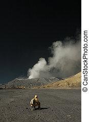 Tourist sit down at Bromo mounta